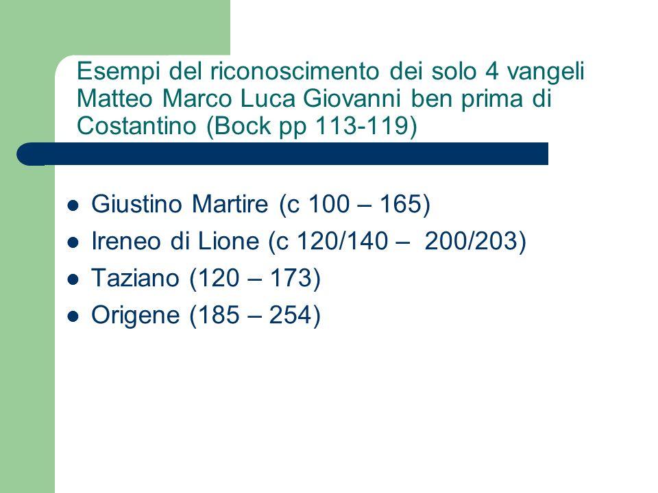 Esempi del riconoscimento dei solo 4 vangeli Matteo Marco Luca Giovanni ben prima di Costantino (Bock pp 113-119)
