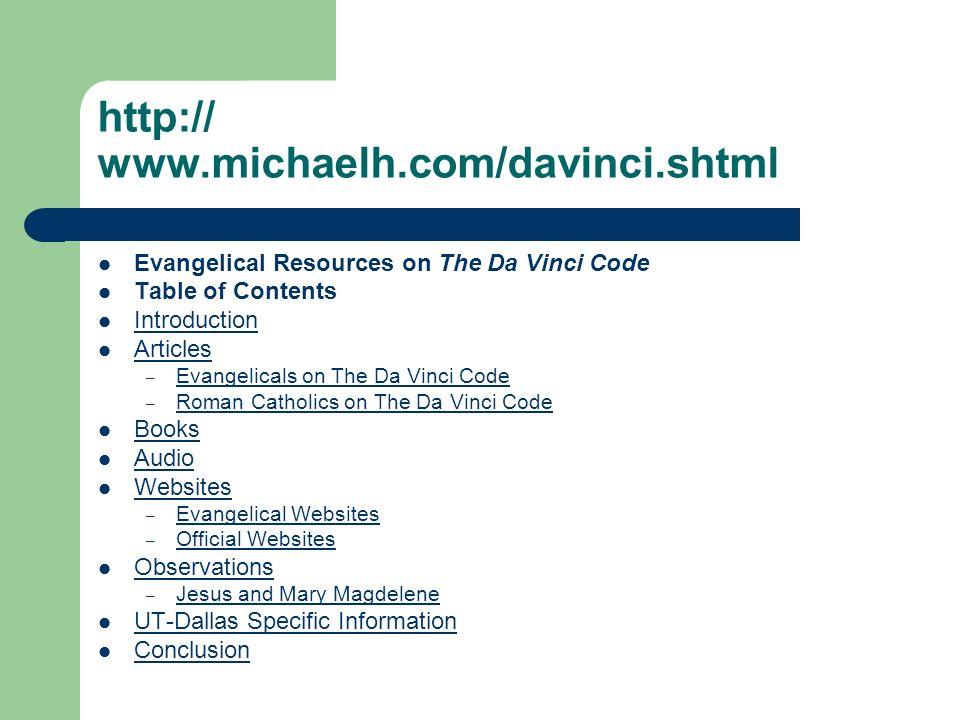 http:// www.michaelh.com/davinci.shtml