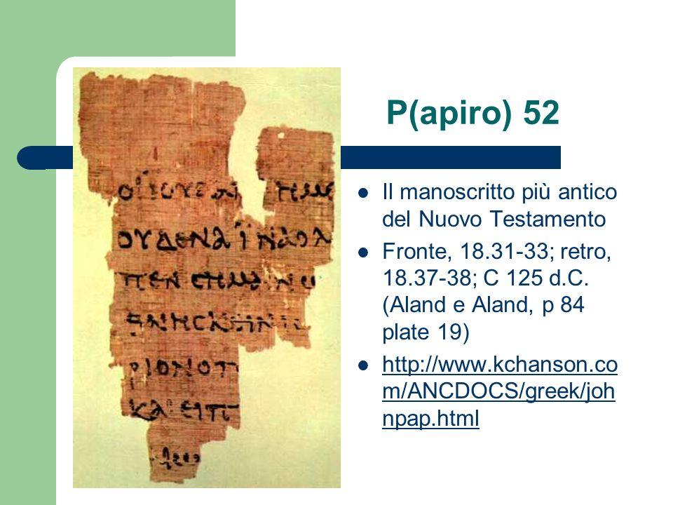 P(apiro) 52 Il manoscritto più antico del Nuovo Testamento