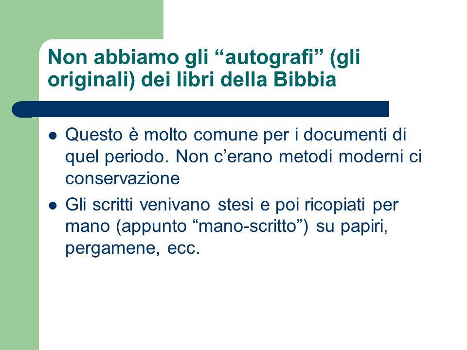 Non abbiamo gli autografi (gli originali) dei libri della Bibbia