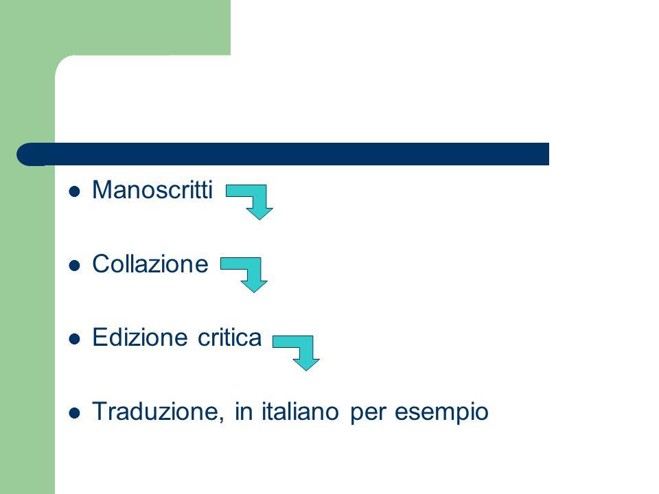 Manoscritti Collazione Edizione critica Traduzione, in italiano per esempio