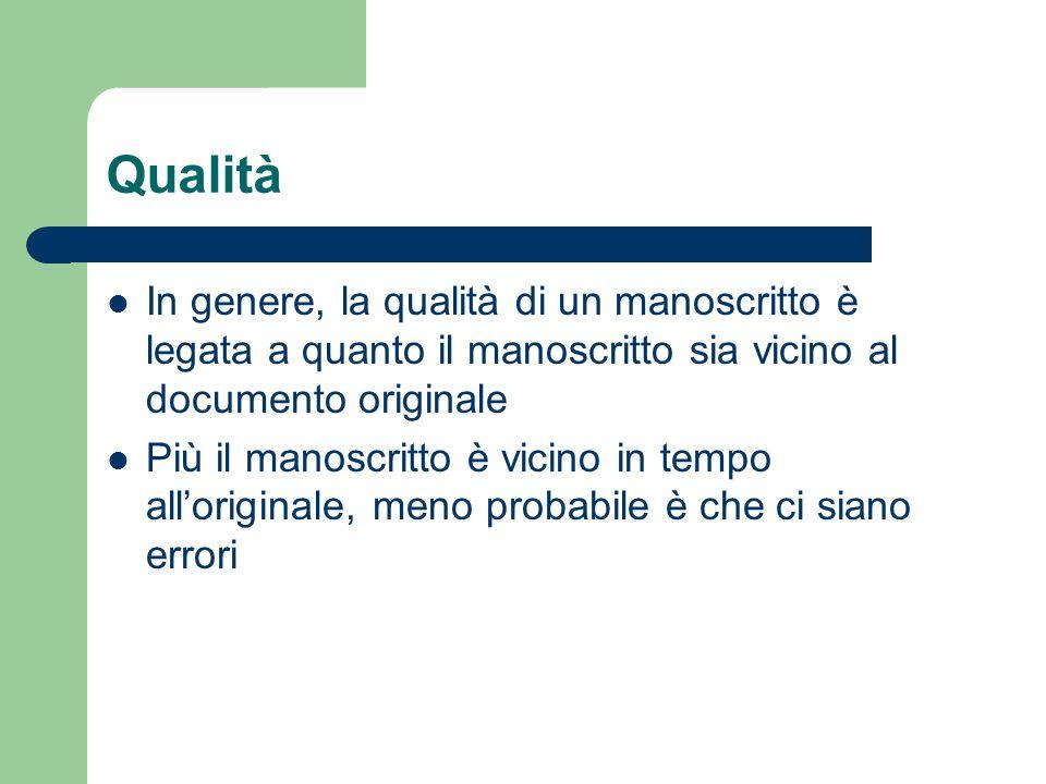 Qualità In genere, la qualità di un manoscritto è legata a quanto il manoscritto sia vicino al documento originale.