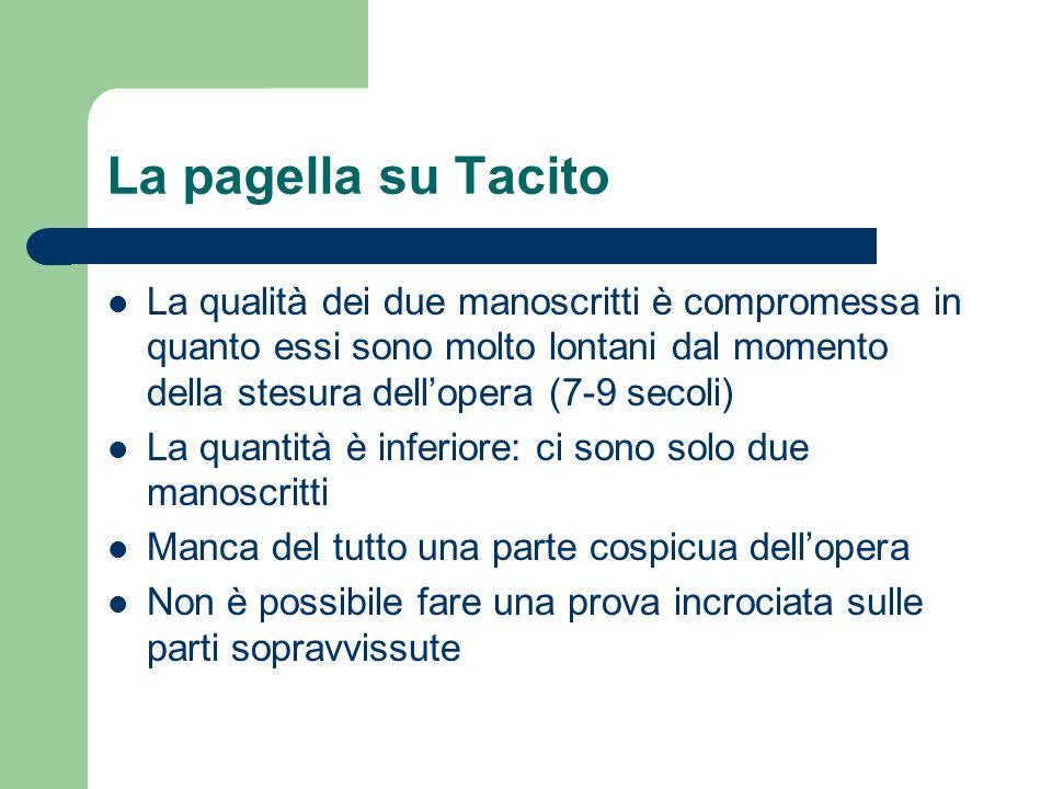 La pagella su Tacito La qualità dei due manoscritti è compromessa in quanto essi sono molto lontani dal momento della stesura dell'opera (7-9 secoli)