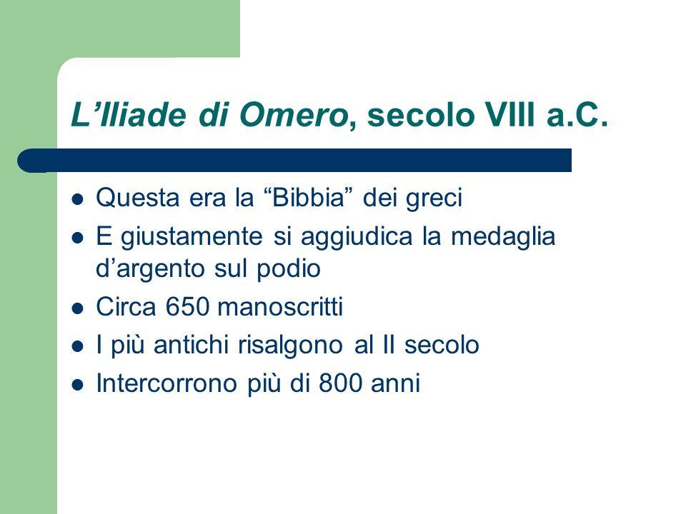 L'Iliade di Omero, secolo VIII a.C.