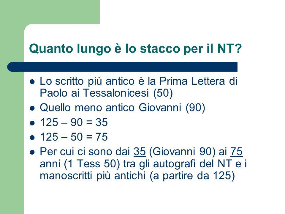 Quanto lungo è lo stacco per il NT