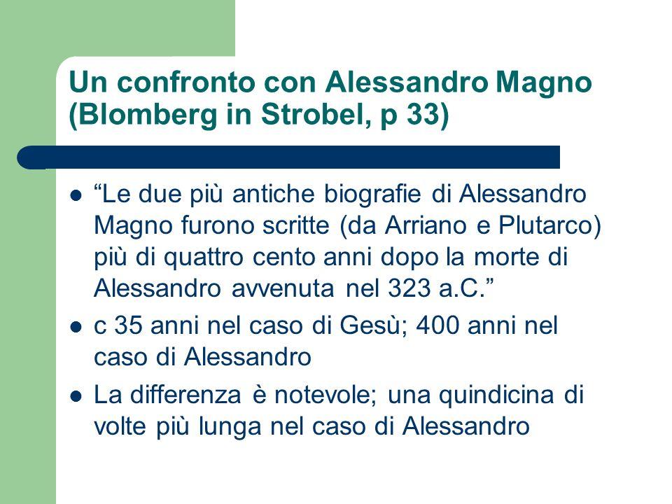 Un confronto con Alessandro Magno (Blomberg in Strobel, p 33)