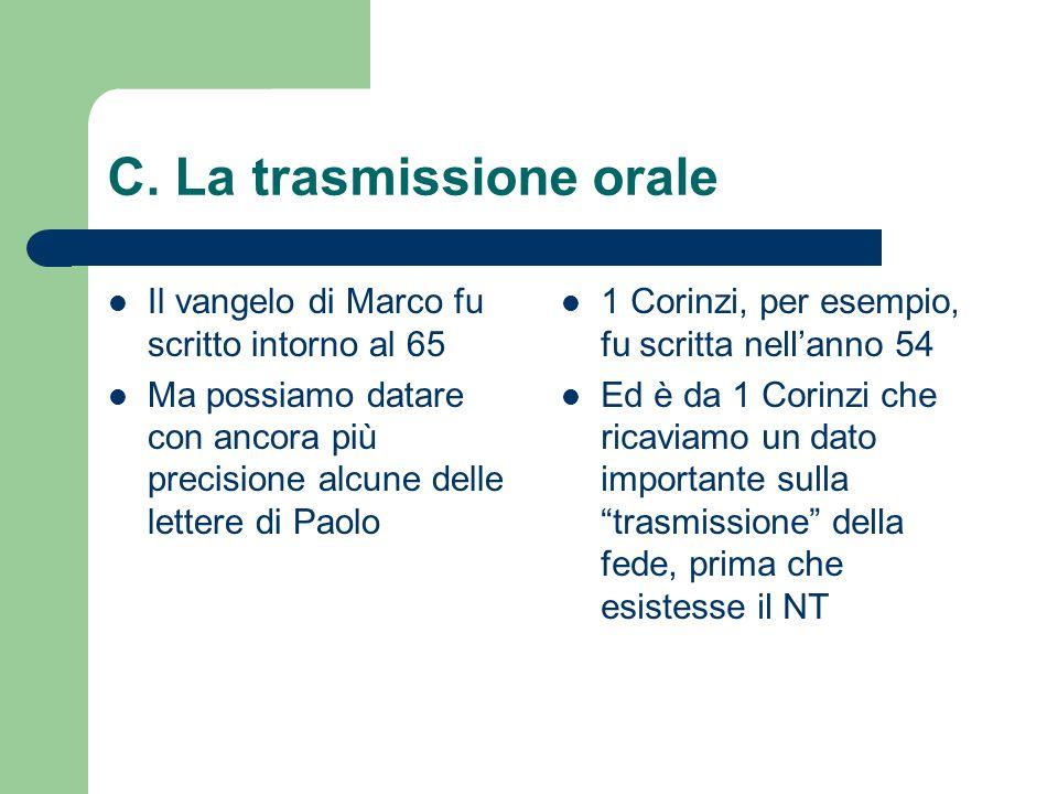 C. La trasmissione orale