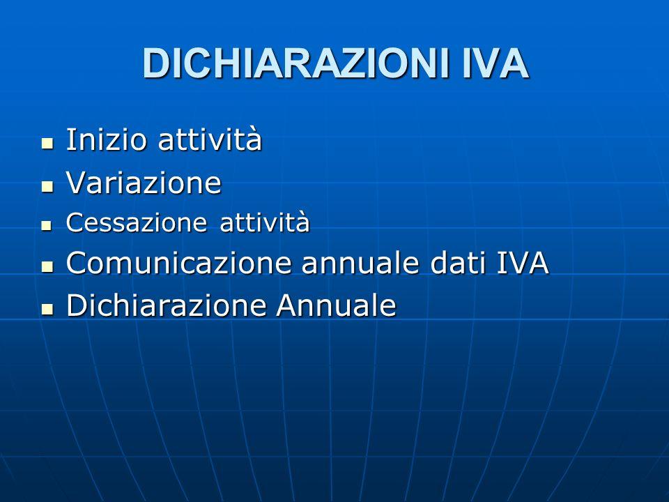 DICHIARAZIONI IVA Inizio attività Variazione