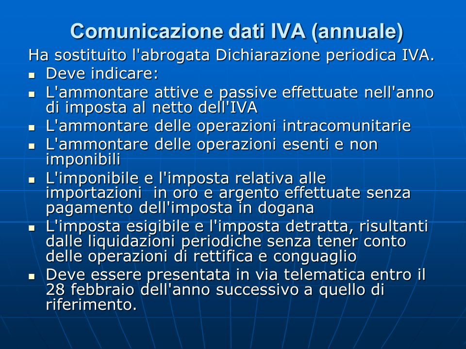 Comunicazione dati IVA (annuale)