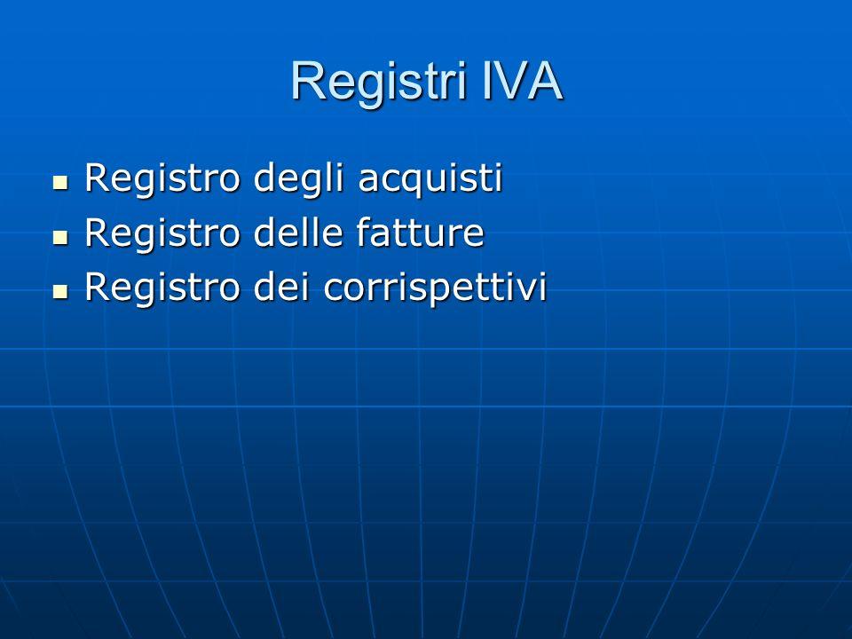Registri IVA Registro degli acquisti Registro delle fatture