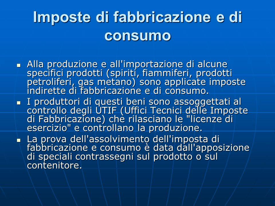 Imposte di fabbricazione e di consumo