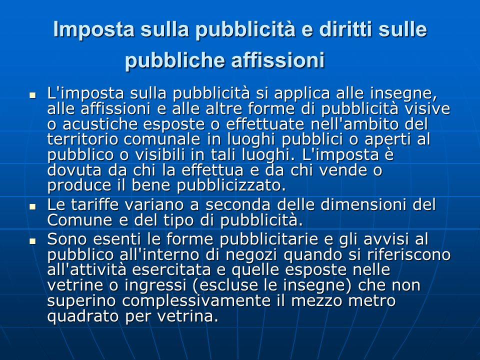 Imposta sulla pubblicità e diritti sulle pubbliche affissioni