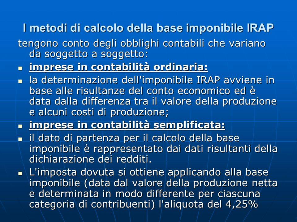 I metodi di calcolo della base imponibile IRAP