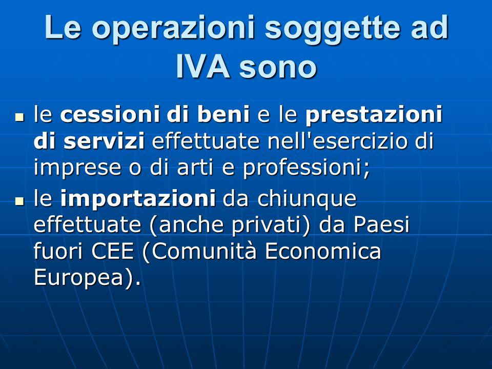Le operazioni soggette ad IVA sono