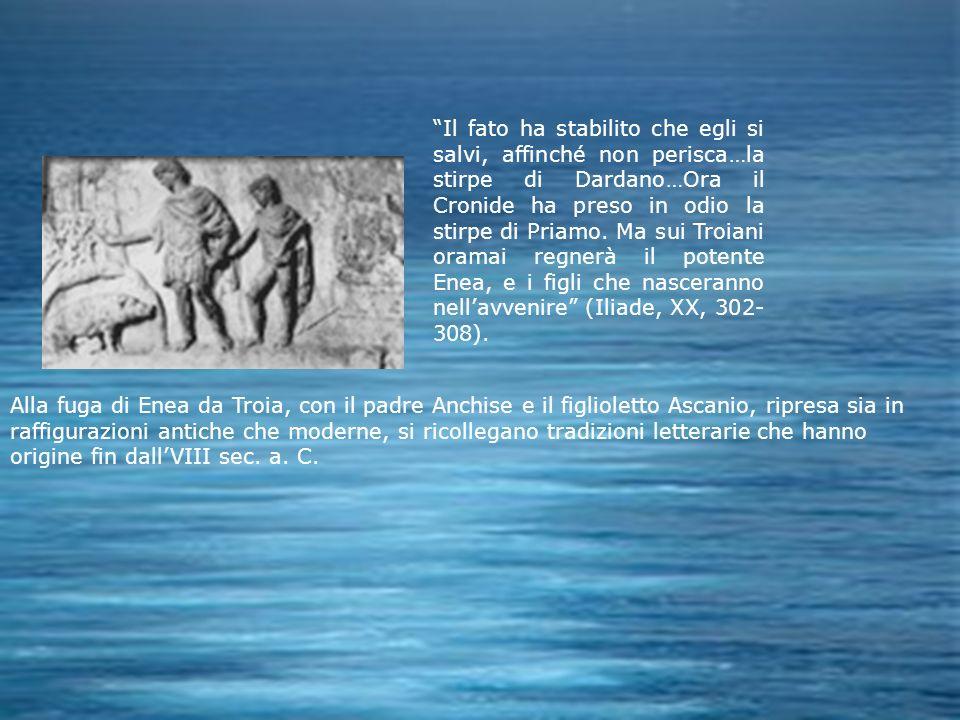 Il fato ha stabilito che egli si salvi, affinché non perisca…la stirpe di Dardano…Ora il Cronide ha preso in odio la stirpe di Priamo. Ma sui Troiani oramai regnerà il potente Enea, e i figli che nasceranno nell'avvenire (Iliade, XX, 302-308).
