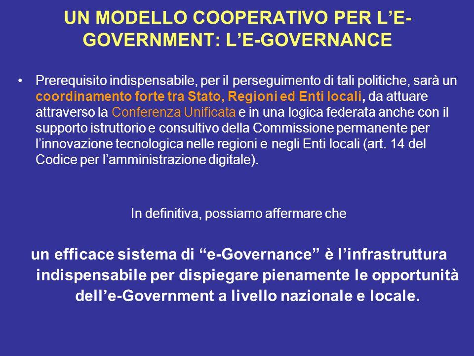 UN MODELLO COOPERATIVO PER L'E-GOVERNMENT: L'E-GOVERNANCE