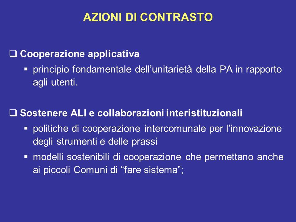 AZIONI DI CONTRASTO Cooperazione applicativa