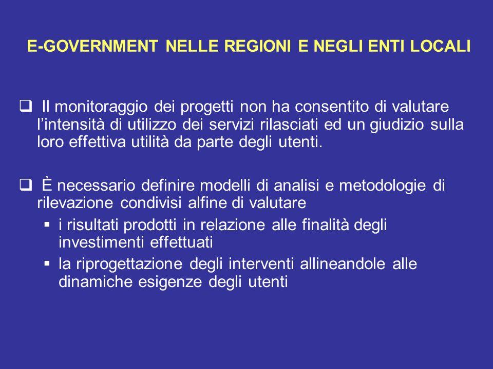 E-GOVERNMENT NELLE REGIONI E NEGLI ENTI LOCALI