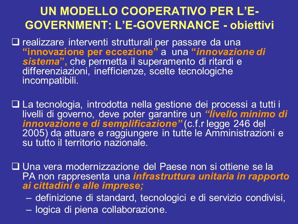 UN MODELLO COOPERATIVO PER L'E-GOVERNMENT: L'E-GOVERNANCE - obiettivi