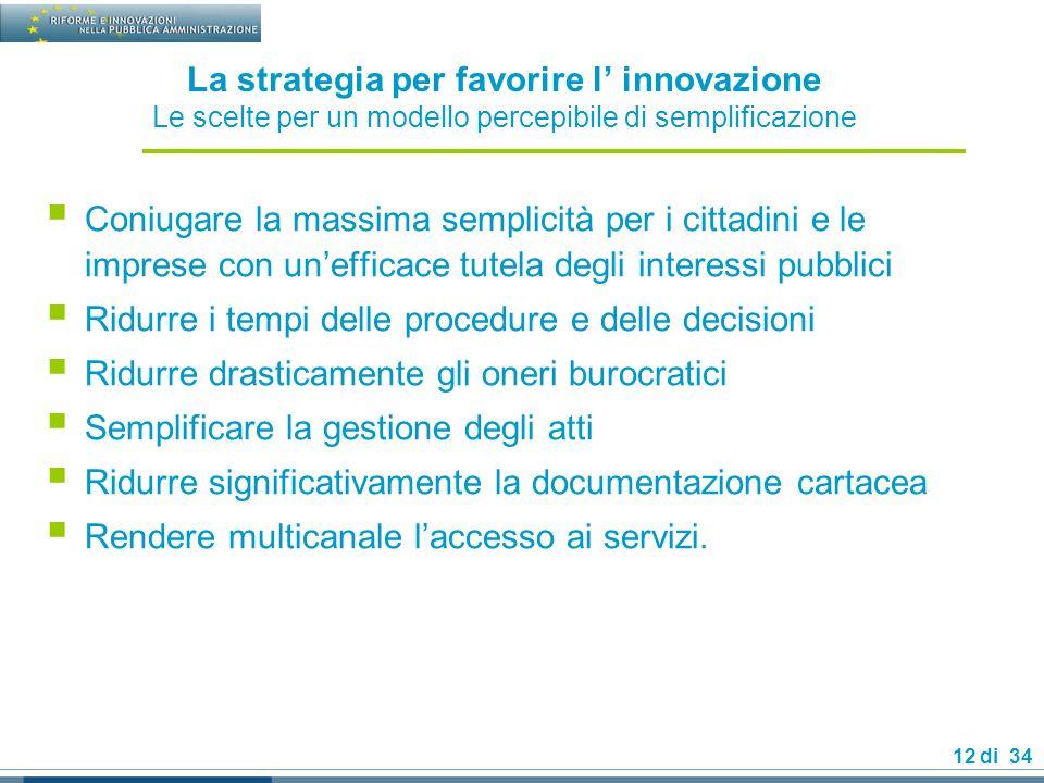 La strategia per favorire l' innovazione Le scelte per un modello percepibile di semplificazione