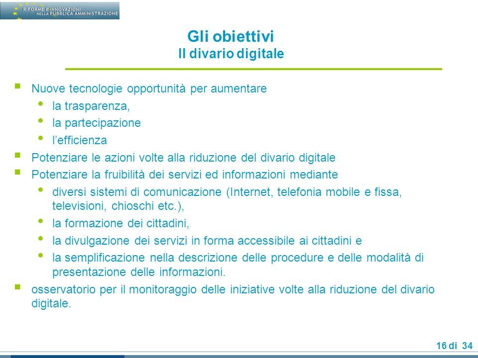 Gli obiettivi Il divario digitale