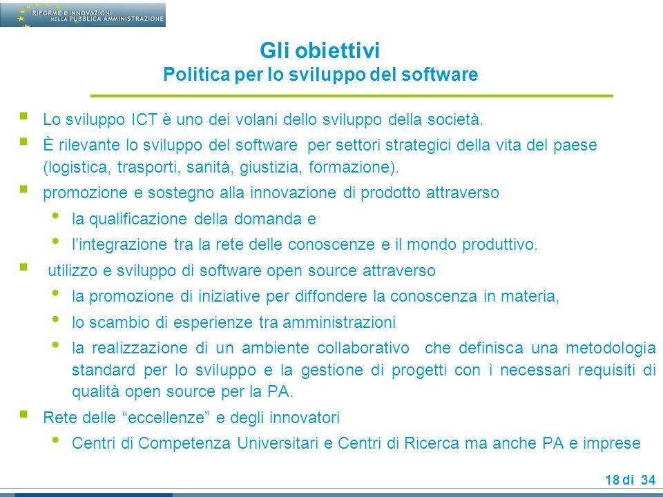 Gli obiettivi Politica per lo sviluppo del software