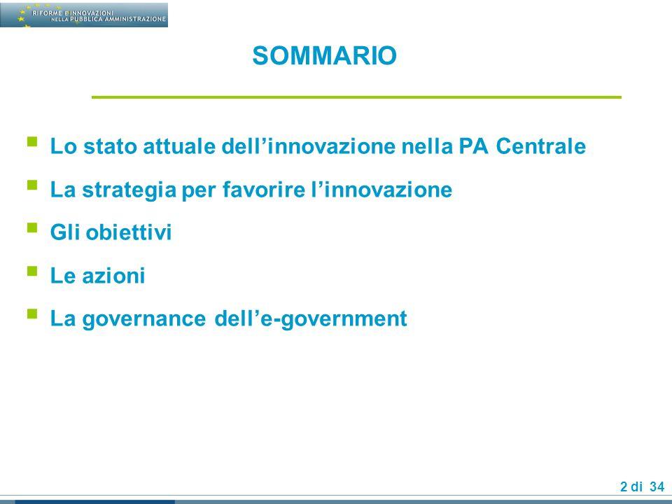 SOMMARIO Lo stato attuale dell'innovazione nella PA Centrale
