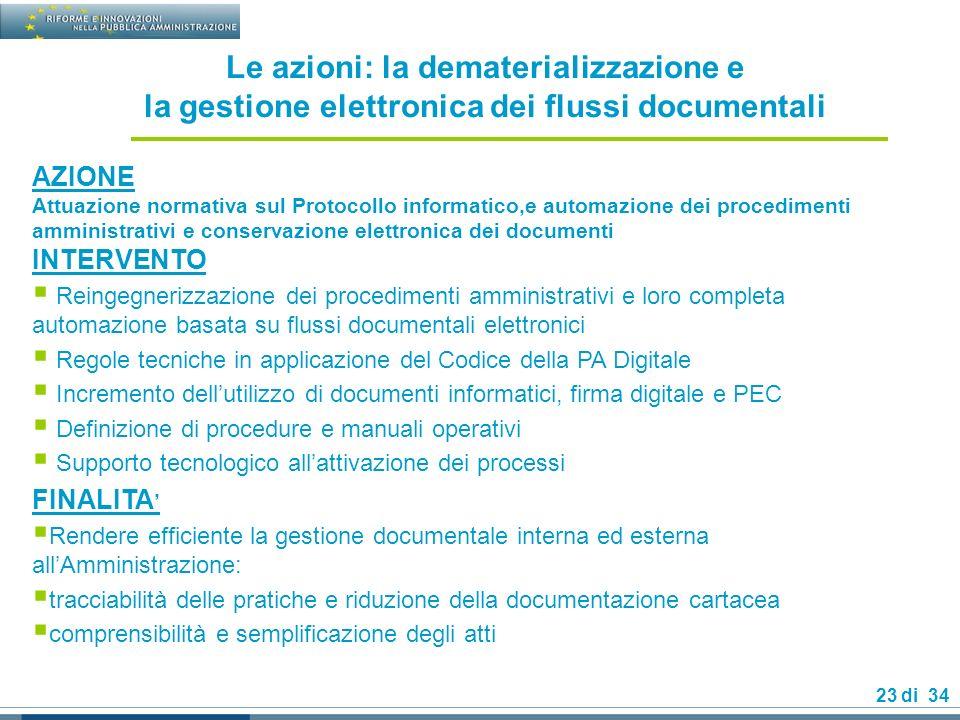 Le azioni: la dematerializzazione e la gestione elettronica dei flussi documentali