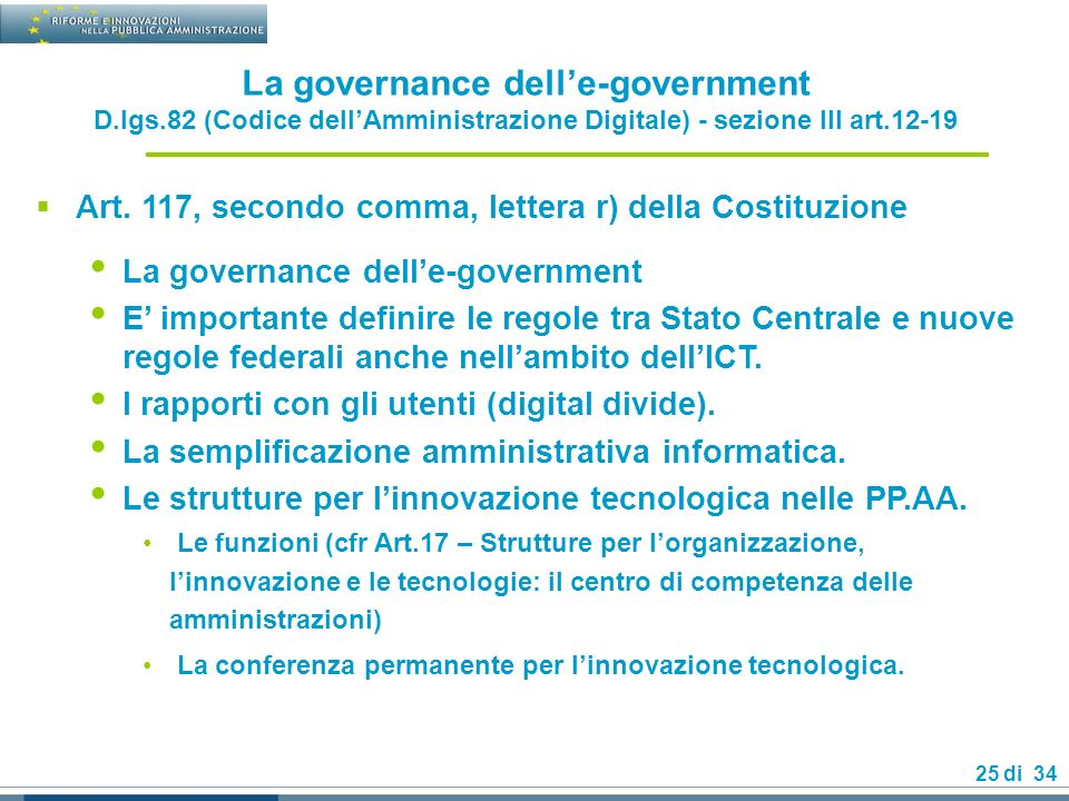 La governance dell'e-government D. lgs