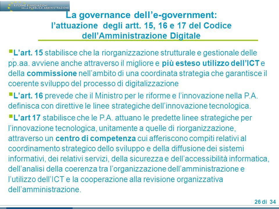 La governance dell'e-government: l'attuazione degli artt