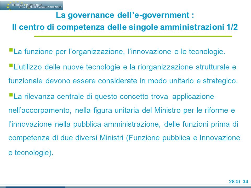 La governance dell'e-government :