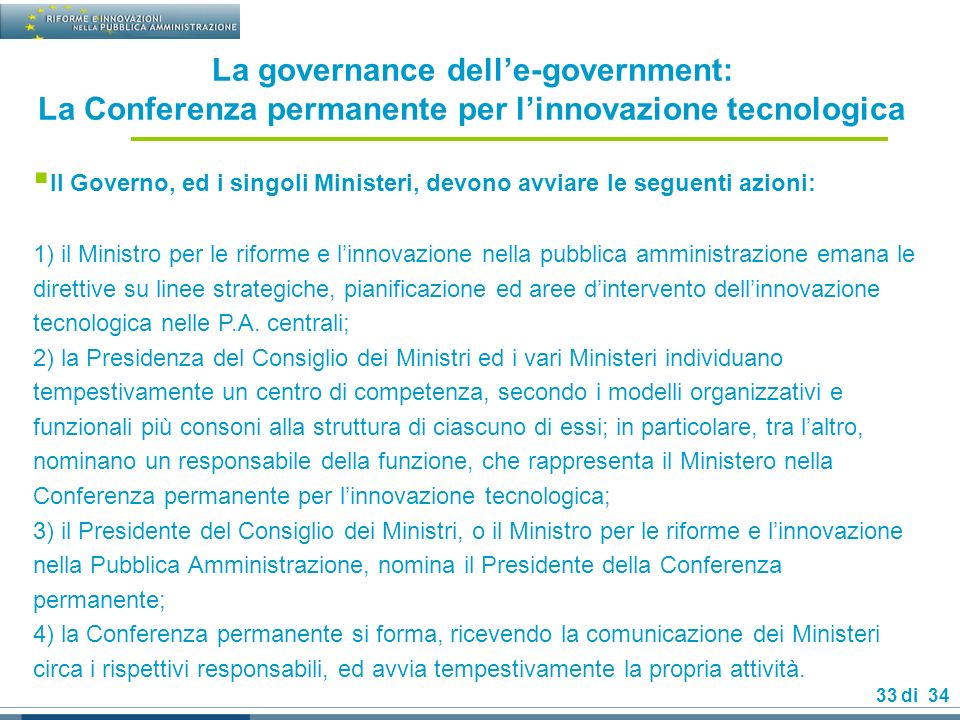 La governance dell'e-government: La Conferenza permanente per l'innovazione tecnologica