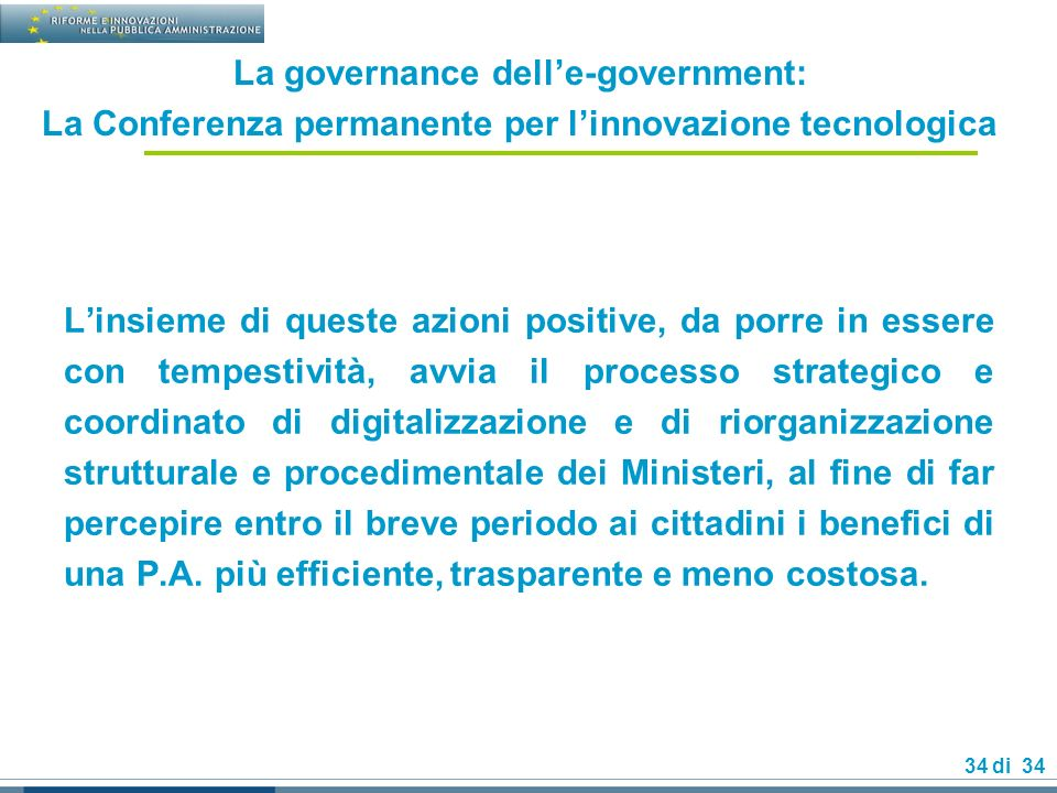 La governance dell'e-government: