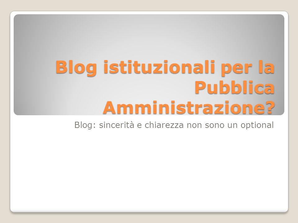 Blog istituzionali per la Pubblica Amministrazione