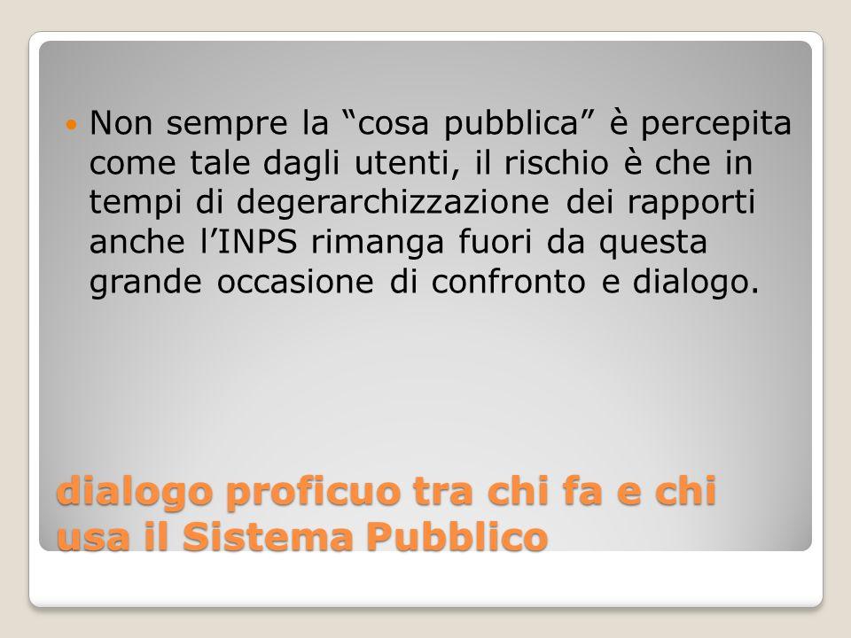 dialogo proficuo tra chi fa e chi usa il Sistema Pubblico