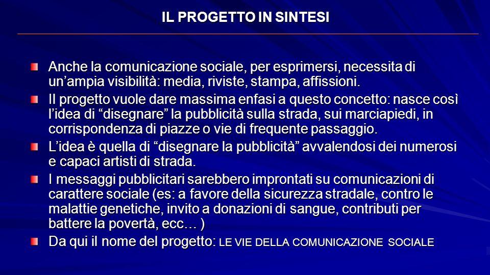 IL PROGETTO IN SINTESI Anche la comunicazione sociale, per esprimersi, necessita di un'ampia visibilità: media, riviste, stampa, affissioni.