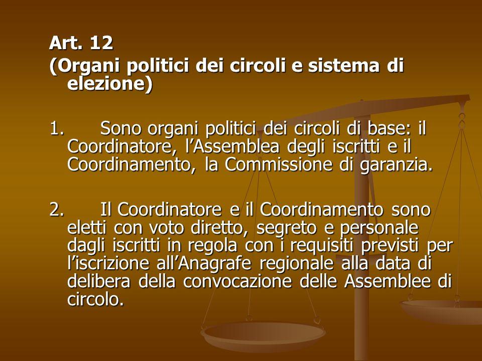 Art. 12 (Organi politici dei circoli e sistema di elezione)