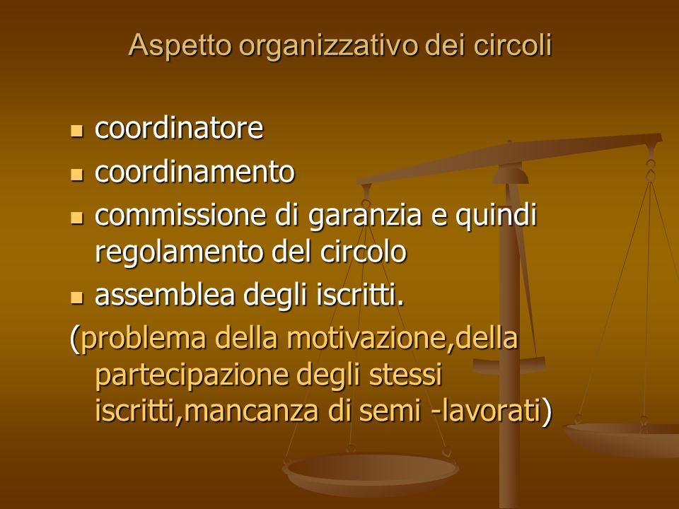Aspetto organizzativo dei circoli