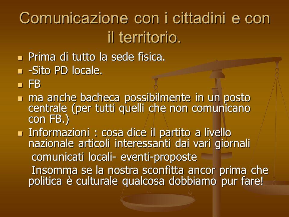 Comunicazione con i cittadini e con il territorio.