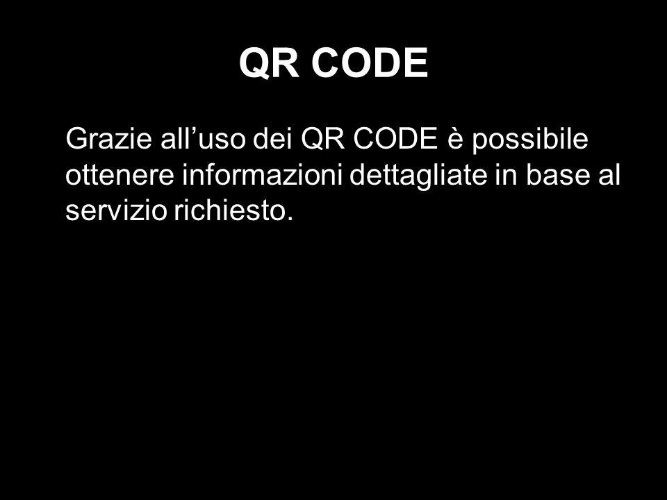 QR CODE Grazie all'uso dei QR CODE è possibile ottenere informazioni dettagliate in base al servizio richiesto.