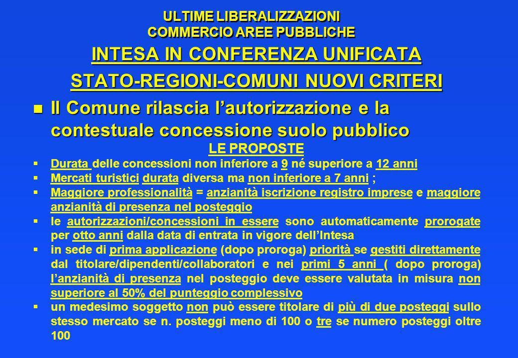 ULTIME LIBERALIZZAZIONI COMMERCIO AREE PUBBLICHE