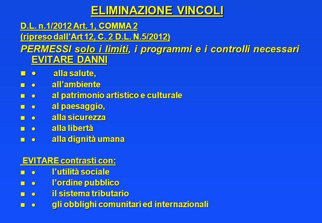 ELIMINAZIONE VINCOLI D.L. n.1/2012 Art. 1, COMMA 2. (ripreso dall'Art 12, C. 2 D.L. N.5/2012)