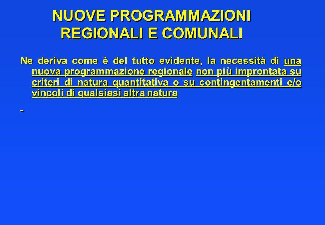 NUOVE PROGRAMMAZIONI REGIONALI E COMUNALI