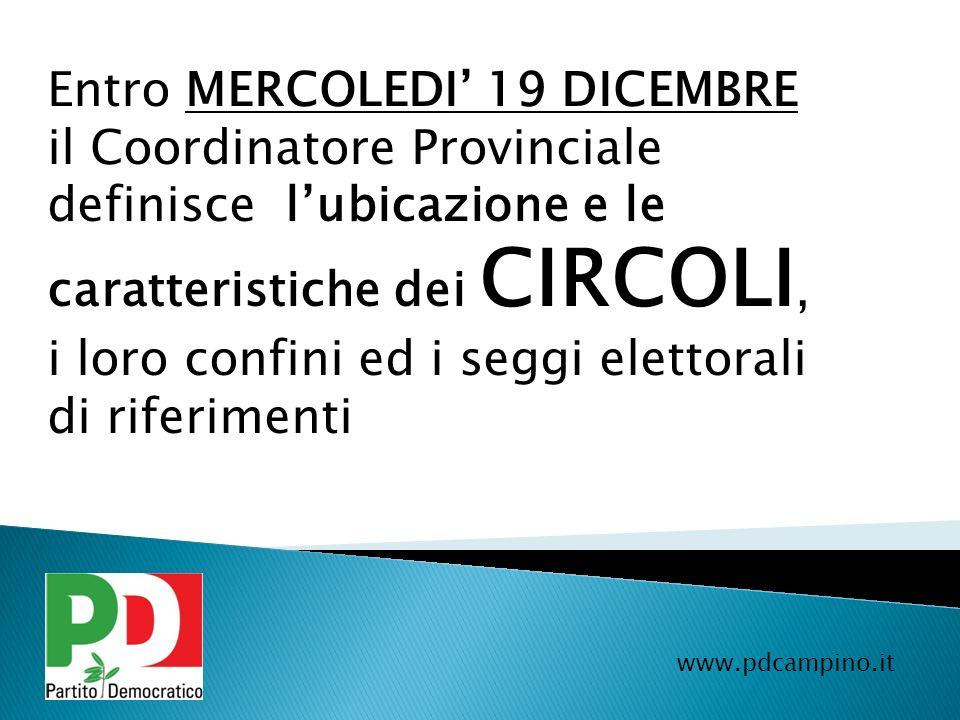 Entro MERCOLEDI' 19 DICEMBRE il Coordinatore Provinciale