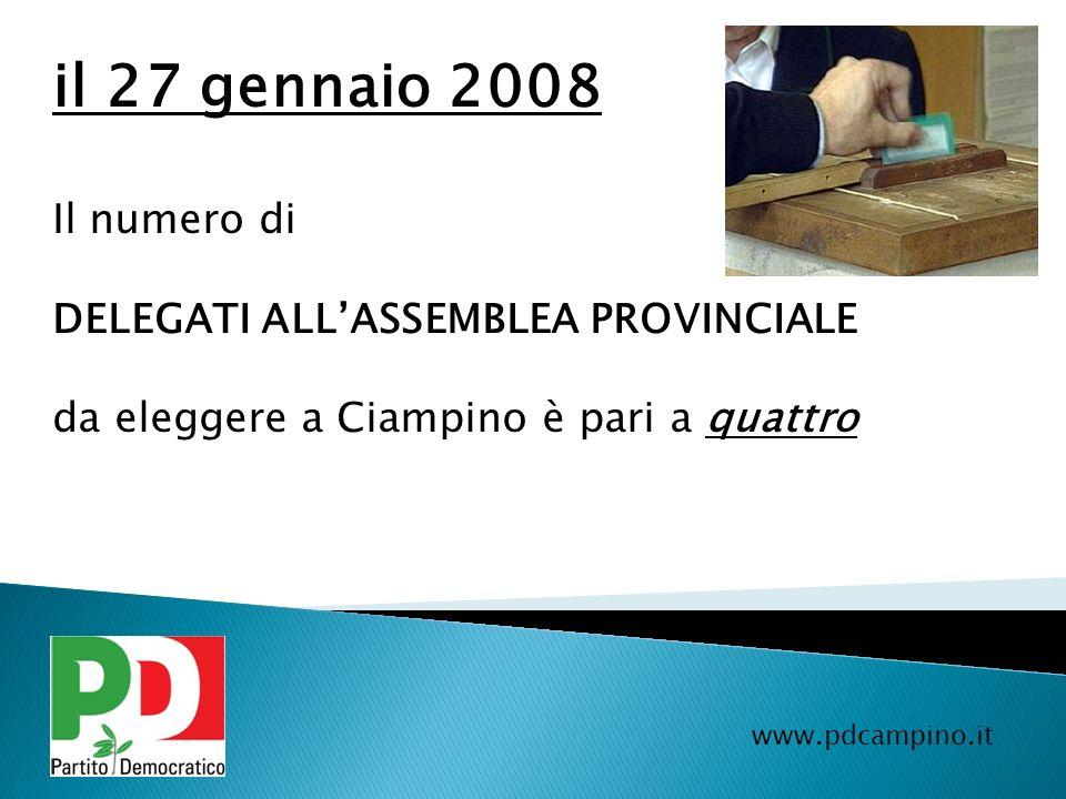 il 27 gennaio 2008 Il numero di DELEGATI ALL'ASSEMBLEA PROVINCIALE