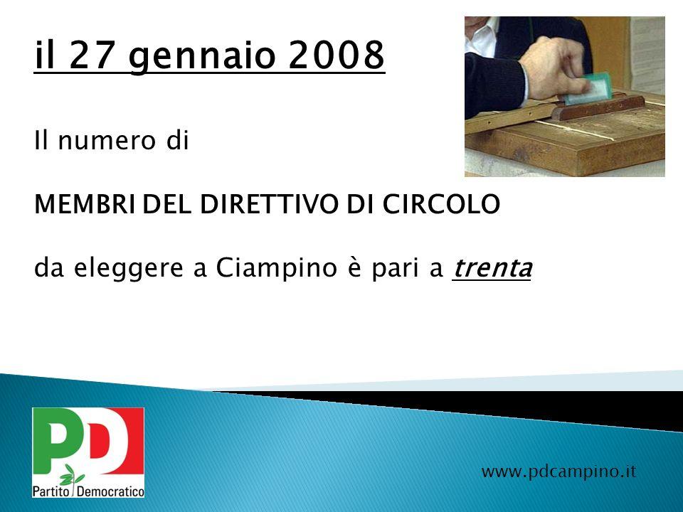 il 27 gennaio 2008 Il numero di MEMBRI DEL DIRETTIVO DI CIRCOLO
