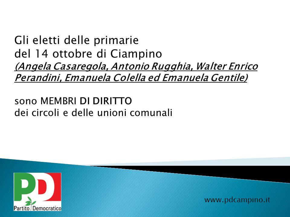 Gli eletti delle primarie del 14 ottobre di Ciampino