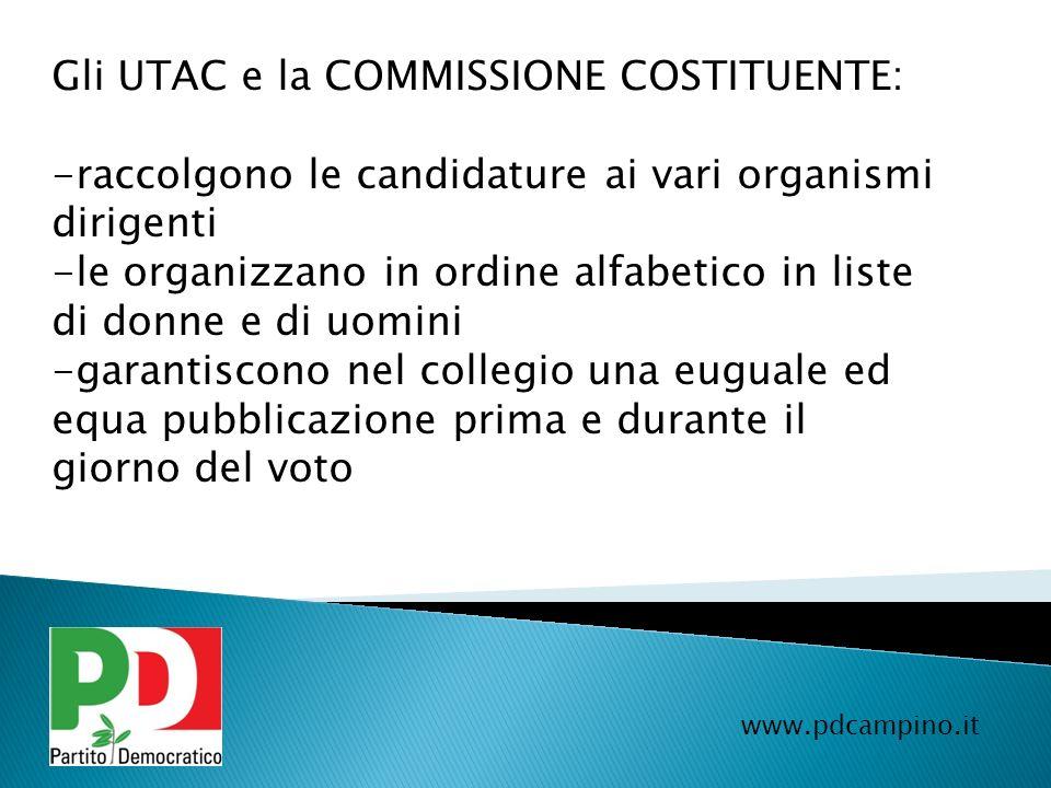 Gli UTAC e la COMMISSIONE COSTITUENTE:
