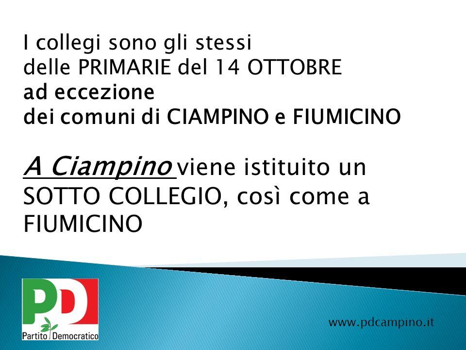A Ciampino viene istituito un SOTTO COLLEGIO, così come a FIUMICINO