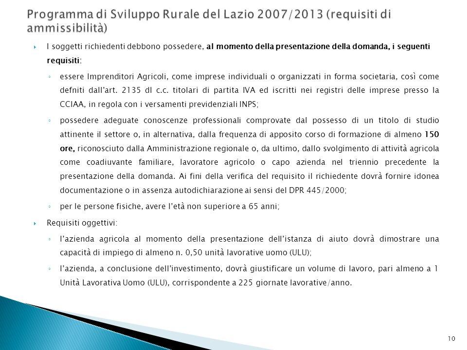 Programma di Sviluppo Rurale del Lazio 2007/2013 (requisiti di ammissibilità)